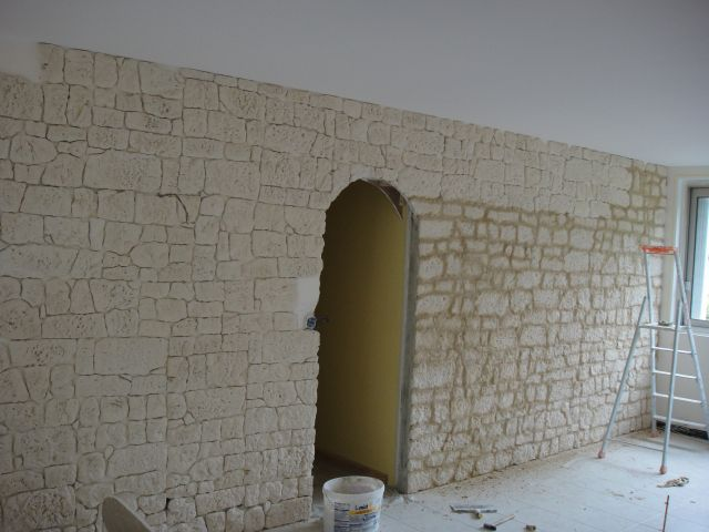 Pose pierre de parement - Mur de parement interieur ...